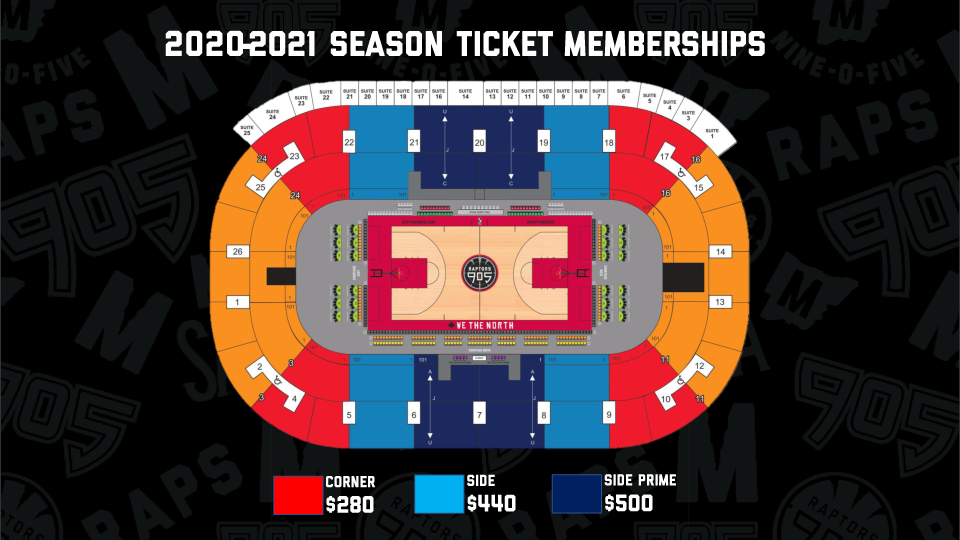 Raptors 905 Seating Map with Starting Prices
