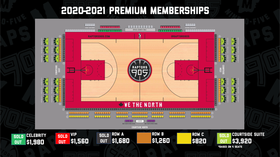 Premium Memberships Seating Map with Starting Prices